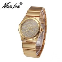 Montre D'eau De Dames Pas Cher-MISS FOX Lucky Mark Women Girl Quartz Montre-bracelet Water Resistant Women Montres de marque de luxe Goldsmith Lady Watch For Woman Clock