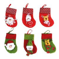 Wholesale Wholesale Christmas Stocking Stand - Mini Christmas Stocking Socks Santa Claus Candy Gift Bag Xmas Tree Decorations Festival Party Tree Hanging