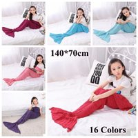 Wholesale Child Bags - 16 Colors 140*70cm Kids Handmade Knitted Mermaid Blankets Mermaid Tail Blanket Crochet Blanket Throw Bed Wrap Sleeping Bag CCA7357 20pcs