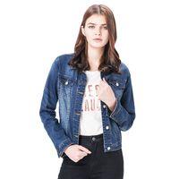 más el tamaño de chaquetas de jean azul al por mayor-Moda S 6XL Tallas grandes Mujer invierno Sólido azul de algodón Chaqueta vaquera Lavado ligero mujer Cuello de manga larga jeans Abrigos