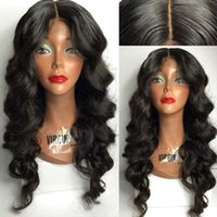 Wholesale Long Hair Wave Style - High Quality 4*4 Silk top Glueless Full Lace Wigs with Middle Part Body Wavy Style Lace Front Wig in Stock