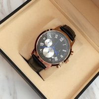 Wholesale Men Leather Band Quartz Watches - 2017 Top Brand Quartz Watch Luxury Men Dress Watches Leather Wristwatches Fashion Casual Watches black brown band Free shipping with box