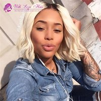 Wholesale blonde medium wavy wig - New Arrival Ombre Color #1B 60 Bob Hair Blonde Wigs With Baby Hair Ombre Lace Frontal Wig Glueless Full Lace Wig