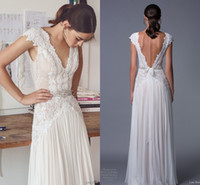 Wholesale floor length chiffon skirt - 2017 Sheath Ivory Wedding Dresses Chiffon Cap Sleeve Backless Crystals Pearls Vintage Lace Floor Length Bohemia Boho Bridal Gowns