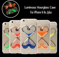 "Wholesale Iphone Cases Drip - Liquid Drip Heart Quicksand Hourglass Crystal Noctilucent Hard PC Coque Fundas Case Cover For iPhone SE 5 5S 6 6S Plus 4.7"" 5.5"" MOQ:100pcs"