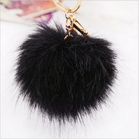 Wholesale Wholesale Keychains Korea - Korea Faux fox Fur Ball Keychain fur pom pom for monchichi Key chain car bag hanging Charm pendant keyring porte clef Key Holder