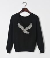 Wholesale Designer Beaded Tops - Jersey Pullover 2017 Winter Sweater for Women Designer Elegant Beaded Eagle Diamond Knitted Sweater Casual Tops Jumper