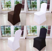 Wholesale Black High Chair Cover - Wolesale hotel hotel chair cover wedding wedding pure color with thick white elastic high-end banquet chair cover free shipping WA0101