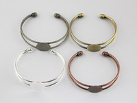 Wholesale Brass Blank Ring Base - 10pcs Wholesale Fit 18mm Cabochon Adjustable Round Pad Brass Blank Base Cuff Bracelet Settings For DIY Jewelry Findings