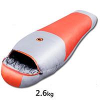 Wholesale Fabric Weather - 2.6KG Down sleeping bags winter camping adult Mummy White Duck Down sleeping bag waterproof nylon cloth Fabrics Size: 200 * 78CM