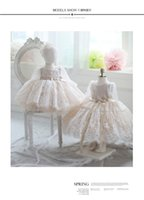 Wholesale Short Lace Wedding Dres - Princess Cheap Flower Girls Dresses For Wedding Lace Appliques Bow Sash Kids Gowns Tulle Long Sleeves Free Shipping Communion Dres
