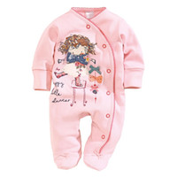 Wholesale Baby Bodies Long Sleeve - Newborn Clothes Footcover Baby Rompers With Foot Cotton Pink Baby Girls Jumpsuits Overall Body Suit Character 0-12Month