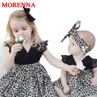Wholesale Kids Leopard Costume - MORENNA 0-7Y Fashion Baby Girl Clothes Leopard Suit Lace Ruffles Sleeve Romper Dress + Headband 2pcs Outfit Toddler Kids Summer Costume