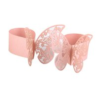 Wholesale Paper Napkin Rings Wedding - Wholesale- 50PCS 3D Butterfly Paper Napkin Ring Holder Wedding Party Table Decor (Pink)