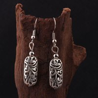 Wholesale Chinese Tibetan Jewelry - Wholesale-stage performance DIY vintage Tibetan style Miao silver flowers dangle earrings ,New Chinese wind old fashioned jewelry