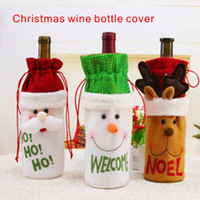 Wholesale Table Cover Woven - Christmas Decorations Christmas Wine Bottle Cover Non-woven fabric cover Atmosphere arrangement of Christmas table Hat and Clothes for.