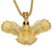 CWFY Gold Color Eagle Men Colgante Collar Ice Out Bling Animal Acero inoxidable Titanium Collares Joyas