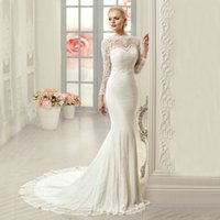 Wholesale Embroidered Pink Ivory Lace - Vnaix W3088 Gorgeous Chic Ivory Sheer Long Sleeves Lace Mermaid Wedding Dresses 2016 Sexy See Though Back Vestidos De Noiva