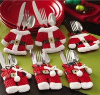 Wholesale Polyester Cloth Suppliers - Christmas Commodities 1set mini Tableware Small Clothes Pants Home Party Decors Santa Claus Christmas Supplier F502