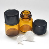 Wholesale Empty Clear Glass Bottle - Empty 1ml (1 4 dram) Small Glass Amber Bottle With Pull Orifice Rducer Screw Cap Mini 16*22mm Essential Oil Clear Bottle