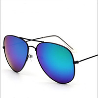 Wholesale Hot Frog - NEW Fashion glass len Double beam Band UV400 Sunglasses for women Hot Selling sunglasses beach student Bright Bicolor 21g Frog mirror