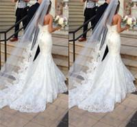 gelin peçe dantel aplikleri toptan satış-Prenses Düğün Veils Ucuz Uzun Dantel Gelin Veils Bir Katman Custom Made Dantel Aplike Kenar Gelin Peçe Ücretsiz Kargo