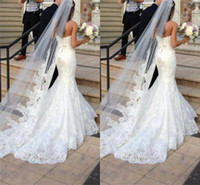 Wholesale Ivory Lace Chapel Wedding Veils - Princess Wedding Veils Cheap Long Lace Bridal Veils One Layer Custom Made Lace Applique Edge Bride Veil Free Shipping