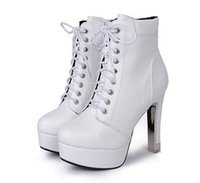 Wholesale Trendy Boots Buckles - 2017 Trendy 12cm White PU Leather Boots Buckles Platform High Heel Motorcycle Boots Size 34 To 39