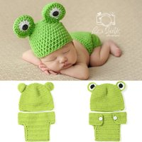Wholesale Newborn Knit Frog Hat - DHL Freeshipping Baby Knitted Hat Set Handmade Crochet Hat Frog Infant Newborn Baby Pictures Baby Hat Crochet Photography Set