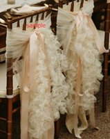 Wholesale Organza Chair Sashes Ribbons - 2017 Link For Cream Organza Ruffles With Pink Ribbon Romantic Vintage Wedding Chair Covers Chair Sashes Sample 09