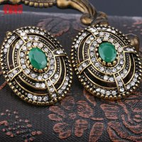 Wholesale Green Gold Ear - AINAMEISI 2017 Green Crystals clip earrings for women Vintage Gold color fashion Jewelry earring female Brincos ear cuff