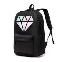 Wholesale Holographic Bags - Women Canvas Backpack School Bags Holographic Silver Diamond Solid Teenage Girls Female Men Laptop Sale waterproof brand Mochila