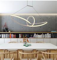 Wholesale Boat Lights Strip - modern Acrylic led pendant light led hanging lamp suspension chandeliers livingroom indoor lighting fixture Mobius strip boat AC90-265V