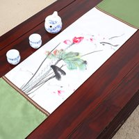 Patchwork de Corto Plazo Classic Lotus Table Runner Tapetes De Mesa De Lujo De Lujo De Alta Calidad De Estilo Chino Seda Brocade Tablecloth 150x33
