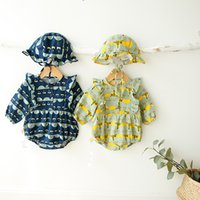 Wholesale Wholesale Little Girl Rompers - INS new arrivals fall baby kids climbing romper 100% cotton little tree print romper + cap girl kids romper kids autumn rompers 0-2T 2 color