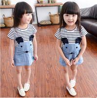 Wholesale Short Blue Skirt Cartoon - Baby cartoon striped cat cowboy Dresses Kids Girl Summer denim skirt Dress 2016 Baby Girl Fashion cotton Dress Children's Clothing
