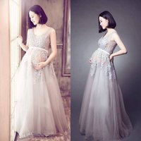 Wholesale Lace Maternity Wedding Gowns - Champagne Maternity Wedding Dresses Empire Waist Lace Appliqued Tulle Lace Up Floor Length Pregnant Bridal Gowns Wedding Dresses SP027