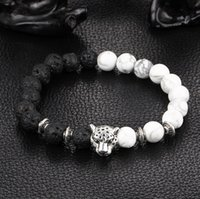 modèles de perles noires achat en gros de-Modèles d'explosion de mode chaud naturel roche volcanique noire lâche cercle de perles de prière bracelets lion tête de léopard bracelet bijoux amoureux