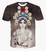 Wholesale Tshirt Printing China - tshirt China Style Women's T-shirt 3d summer tops printed Beijing opera actor Casual t shirt short sleeve tees A21