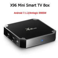 телевидение для оптовых-X96 mini Android 7.1 Amlogic S905W Четырехъядерный телевизор BOX 2 ГБ 16 ГБ 1 ГБ 8 ГБ Поддержка H.265 UHD 4K 2,4 ГГц WiFi Приставка