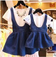 Wholesale Girl S Denim Sets - Wholesale Women Clothes Mom Daughter Dresses Girls Denim Blue Dress White Shirt Short Sleeved Cotton Suspender Kids Summer Free Shipping