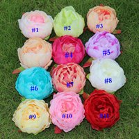 Wholesale Xmas Head Decoration - XMAS Artificial Flowers Silk Peony Flower Heads Wedding Party Decoration Supplies Simulation Fake Flower Head Home Decorations 12cm WX-C08