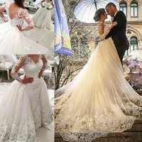 Wholesale Dresses Removable - 2017 New Saudi Arabic Over Skirt Wedding Dresses V-neck Lace Appliques Backless Long Sleeves Elegant Bridal Gowns with Removable Skirt