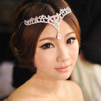 Wholesale Hair V Shape - Gorgeous 2017 White Red Crystal Party Hair Accessories Bridal Wedding Headband Tiaras V Shape Water Drop Wedding Accessories In Stock