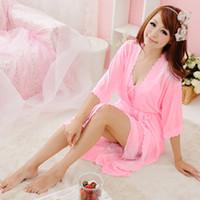 Wholesale Sleep Sling - Wholesale- Women Sling Lingerie Sleepwear 2pcs sleep Dress Silk Robe Nightgown Nightdress