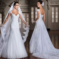 Wholesale Short Wedding Dress Long Tail - C.V New Style Detachable Tail Lace Mermaid Wedding Dresses Short Sleeve Backless Pleats Bridal Gown Tulle White Long Bridal Dress W0012