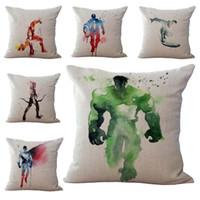 merak eden adam toptan satış-Avengers Demir Adam Capitain Amerika Hulk Wonder Woman Yastık Kılıfı Yastık kılıfı Keten Pamuk Atmak Yastık Dekoratif 240468