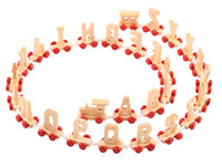 conjunto de treinamento de bebê venda por atacado-26 pçs / set brinquedo de madeira educacional do bebê 26 letras cognation trem Carta De Madeira Do Bebê Brinquedos de Presente de Aniversário Decorações de Casamento