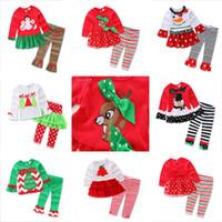 Wholesale Wholesale Polka Dot Pajamas - 2016 baby xmas elk outfit girls deer christmas tree t-shirt + ruffle pants 2pcs sets children polka dot tops kids spring fall wear outfit