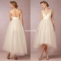 Wholesale Colorful Skirts For Summer - Tea Length BHLDN 2017 Champagne Tulle Wedding Dresses V Neck Backless High Low Summer Cheap Bridal Gowns For Beach Garden Custom Made Plus